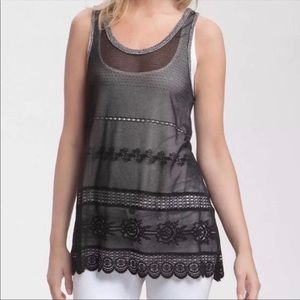 Free People Laceys Black Crochet Tunic Tank